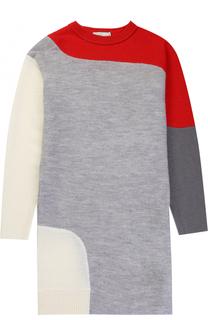 Мини-платье из шерсти прямого кроя с контрастной отделкой Stella McCartney