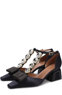 Атласные туфли с бантом и кристаллами Marni