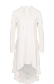 Приталенная шелковая блуза с удлиненной спинкой Giorgio Armani