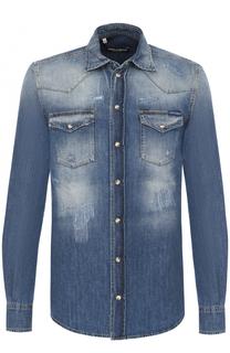 Джинсовая рубашка с потертостями Dolce & Gabbana