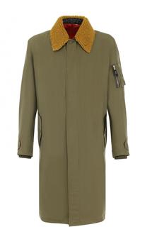 Шелковое пальто с воротником из овчины Valentino
