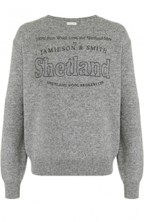 Шерстяной пуловер с принтом Dries Van Noten