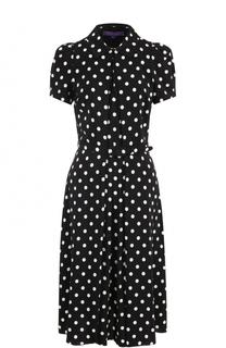Шелковое платье-миди в горох с поясом Ralph Lauren