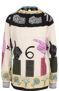Шелковая блуза свободного кроя с принтом Valentino