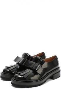 Кожаные ботинки с бахромой и бантом Marni