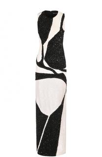 Платье-макси с контрастной вышивкой пайетками Tom Ford