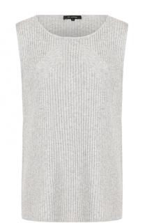 Кашемировый топ фактурной вязки без рукавов St. John