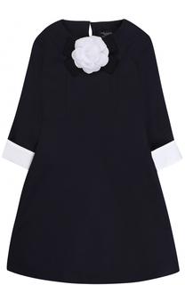 Приталенное платье джерси с контрастной отделкой и брошью Dal Lago