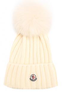 Шерстяная шапка фактурной вязки с меховым помпоном Moncler