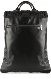 Кожаный рюкзак с внешним карманом на молнии Dolce & Gabbana