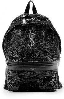 Текстильный рюкзак с вышивкой пайетками Saint Laurent