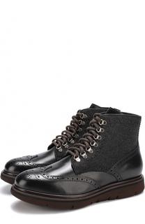 Кожаные ботинки с текстильной отделкой на шнуровке H`D`S`N Baracco