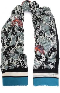 Хлопковый платок с принтом с необработанным краем Burberry