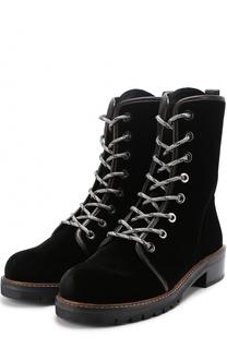 Бархатные ботинки Metermaid на шнуровке Stuart Weitzman