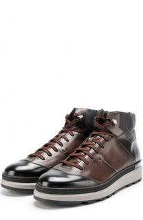 Высокие кожаные кеды на шнуровке Santoni