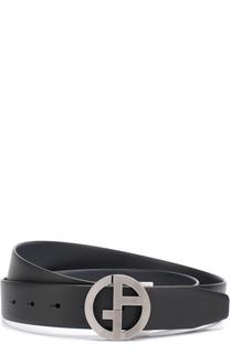 Кожаный ремень с металлической пряжкой Giorgio Armani