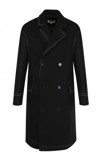 Двубортное пальто в контрастной прострочкой Maison Margiela