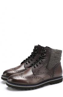 Кожаные ботинки с текстильной отделкой на шнуровке W.Gibbs