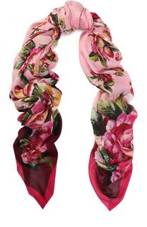 Шарф из смеси вискозы и кашемира с цветочным принтом Dolce & Gabbana