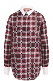 Хлопковая блуза в клетку с декоративной отделкой No. 21