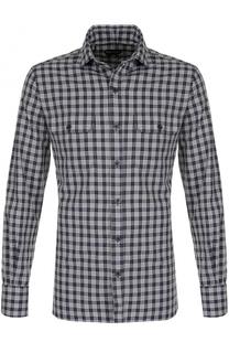 Хлопковая рубашка с клетку с накладными карманами Tom Ford