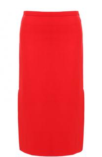 Однотонная шерстяная юбка-миди Marni
