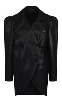 Двубортная кожаная куртка с рукавом-фонарик DROMe