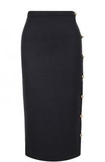 Шерстяная юбка-карандаш с контрастными пуговицами Rochas