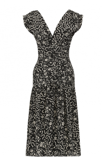Шелковое платье-миди с принтом и драпировкой Isabel Marant