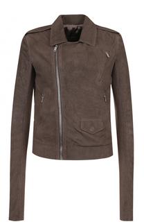 Кожаная куртка с косой молнией и погонами Rick Owens
