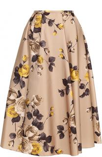 Пышная юбка-миди с цветочным принтом Rochas