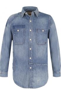 Джинсовая блуза свободного кроя с потертостями Polo Ralph Lauren
