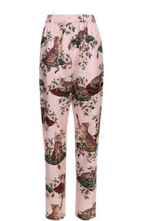 Шелковые брюки в пижамном стиле с принтом Dolce & Gabbana