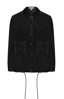 Бархатная блуза с укороченным рукавом и накладными карманами Armani Collezioni