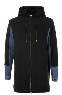 Шерстяная удлиненная куртка с вставками из денима MCQ
