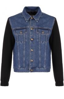 Джинсовая куртка с рукавами из шерсти MCQ