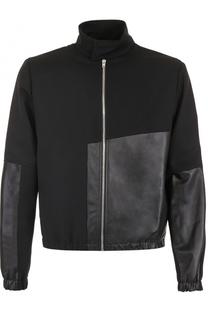 Шерстяная куртка с отделкой из кожи MCQ