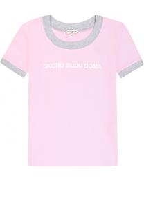 Хлопковая футболка с принтом и контрастной отделкой Natasha Zinko