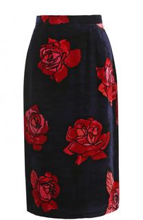 Бархатная юбка-миди с цветочным принтом Markus Lupfer