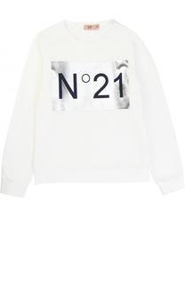 Хлопковый свитшот с металлизированной отделкой No. 21