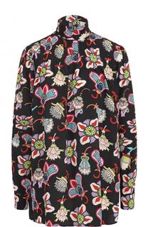 Шелковая блуза с принтом и воротником-стойкой Valentino