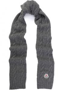 Шерстяной шарф фактурной вязки с логотипом бренда Moncler