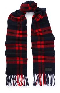Вязаный шарф из смеси шерсти и кашемира в клетку с бахромой Dsquared2