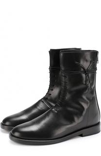 Кожаные высокие ботинки на шнуровке Ann Demeulemeester