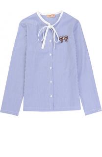 Хлопковая блуза в полоску с воротником аскот и брошью No. 21