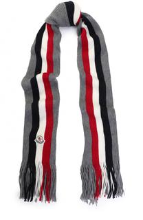 Шерстяной вязаный шарф в полоску с бахромой и логотипом бренда Moncler