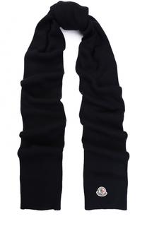 Шерстяной вязаный шарф с логотипом бренда Moncler