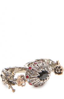 Двойное кольцо с отделкой из кристаллов Swarovski Alexander McQueen