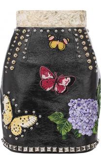 Кожаная мини-юбка с широким поясом и декоративной отделкой Dolce & Gabbana