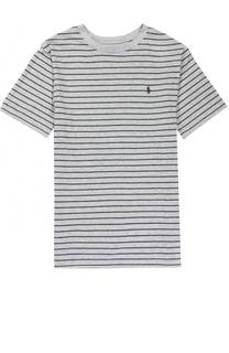 Футболка джерси в полоску с логотипом бренда Polo Ralph Lauren